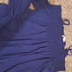 Ultra Flirt Tops - Dark Blue Off The Shoulder Top